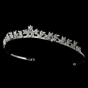 Silver Floral Tiara - La Bella Bridal Accessories