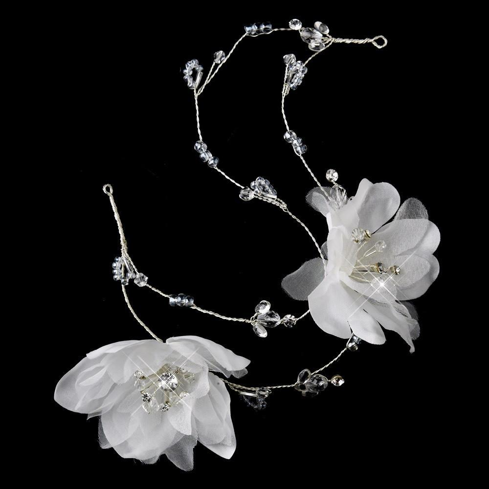 Flower Crystal Bridal Headpiece(White or Ivory) - La Bella Bridal Accessories