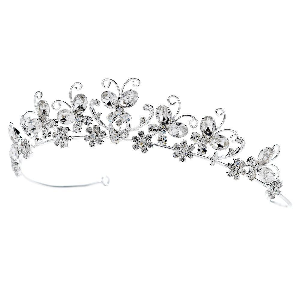 Crystal Butterfly Bridal Tiara - La Bella Bridal Accessories