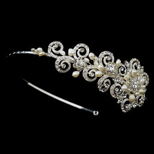 Antique Silver Ivory Freshwater Pearl & Crystal Floral Side Accented Headband - La Bella Bridal Accessories