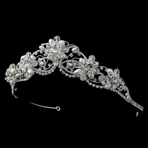 Crystal Couture Pearl Bridal Tiara, Silver or Gold - La Bella Bridal Accessories
