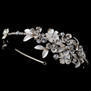 Ivory Flower Crystal Side Accented Gold Headband - La Bella Bridal Accessories