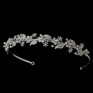 Silver Clear Crystal Floral Bridal Headband