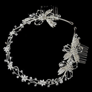 Elegant Hand Wired Silver Bridal Headband with Crystal Swarovski Accents - La Bella Bridal Accessories