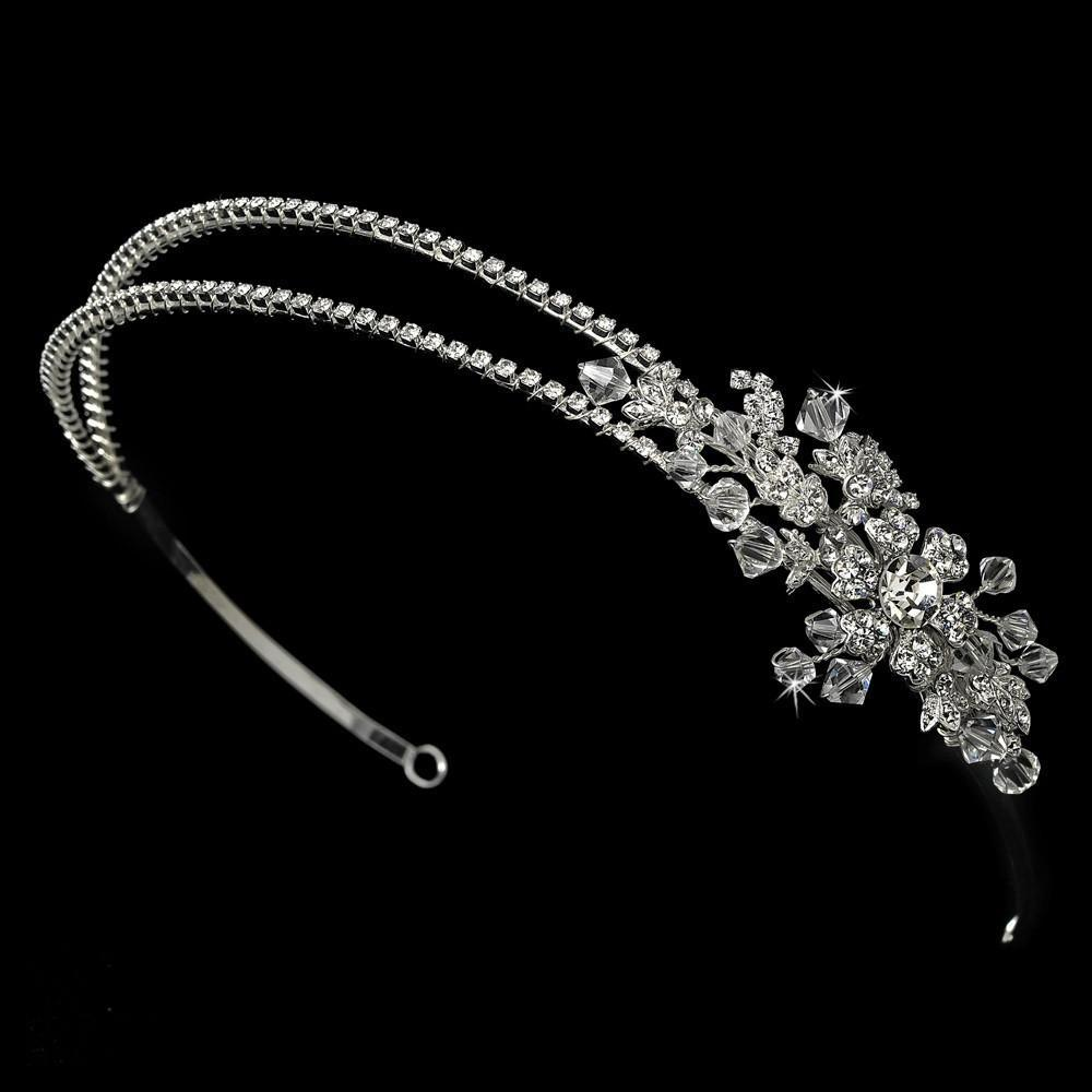 Silver Double Crystal Bridal Headband with Crystal Ornate Side Accent - La Bella Bridal Accessories