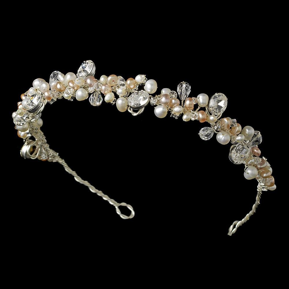 Mocha Blush Gold Freshwater Pearl Bridal Headband - La Bella Bridal Accessories
