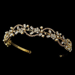 Crystal and Pearl Bridal Cryatal Headband - La Bella Bridal Accessories