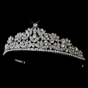 Antique Silver Crystal Tiara Comb Headpiece - La Bella Bridal Accessories