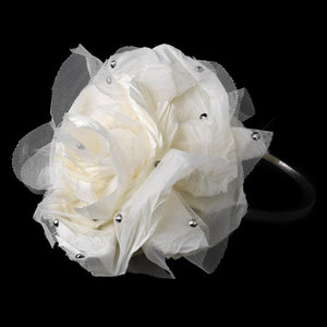Gorgeous Big Flower Black Headband with Crystals - La Bella Bridal Accessories
