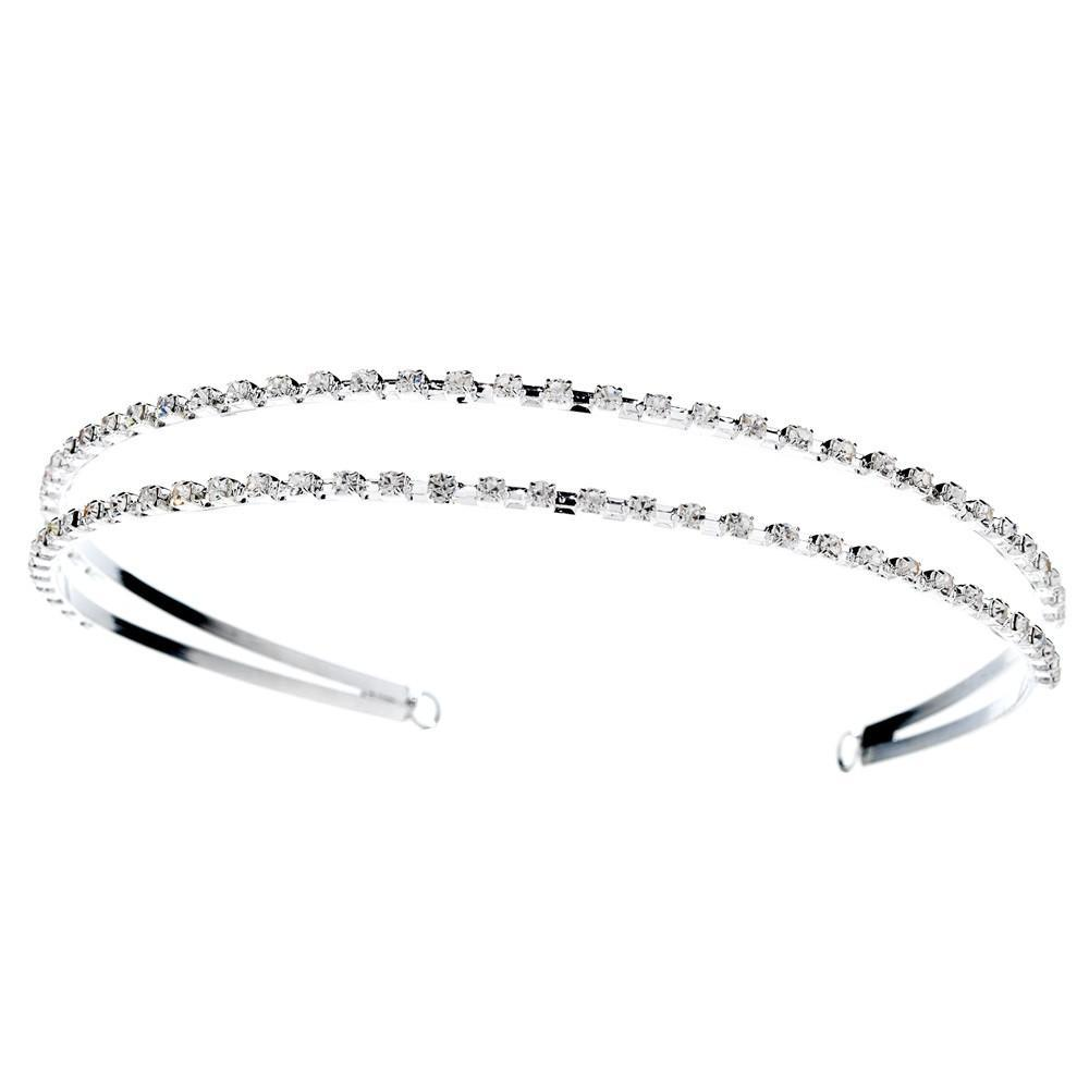 Double Row Crystal Covered Headband in Luminous Silver Plating - La Bella Bridal Accessories