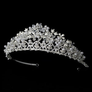 Crystal, Crystal & Pearl Bridal Tiara - La Bella Bridal Accessories