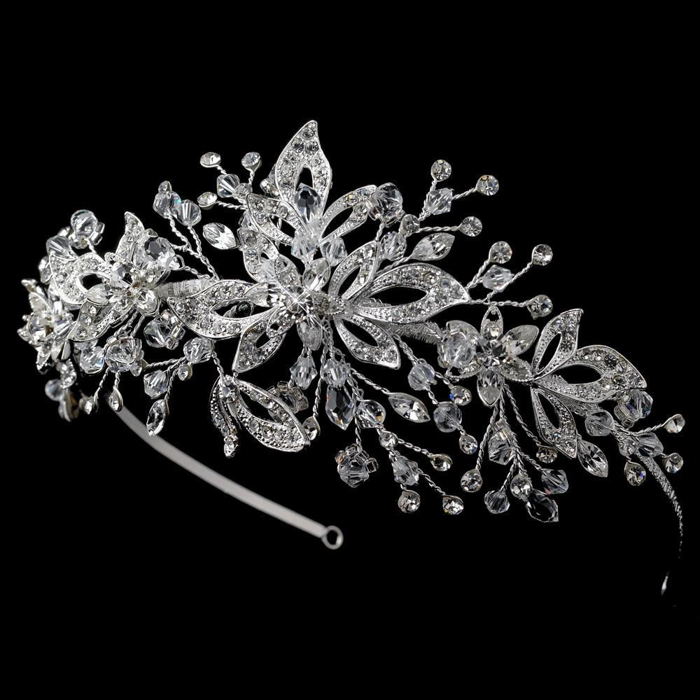 Silver Swarovski Crystal Bead & Crystal Side Accented Headband - La Bella Bridal Accessories