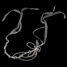 Silver Diamond White Ribbon Headband with Crystals - La Bella Bridal Accessories
