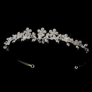 Silver Floral Swarovski Crystal Bridal Side Accented Headpiece - La Bella Bridal Accessories