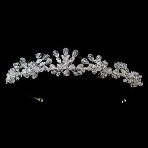 Silver Swarovski Crystal Bridal Tiara Headpiece - La Bella Bridal Accessories