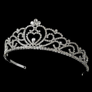Regal Crystal Heart Princess Tiara in Silver with Heart Accent - La Bella Bridal Accessories