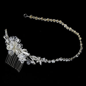 Crystal Headband with Side Ornament - La Bella Bridal Accessories