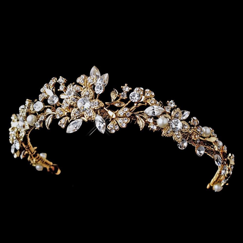 Beautiful Gold Crystal & Pearl Wedding Tiara - La Bella Bridal Accessories