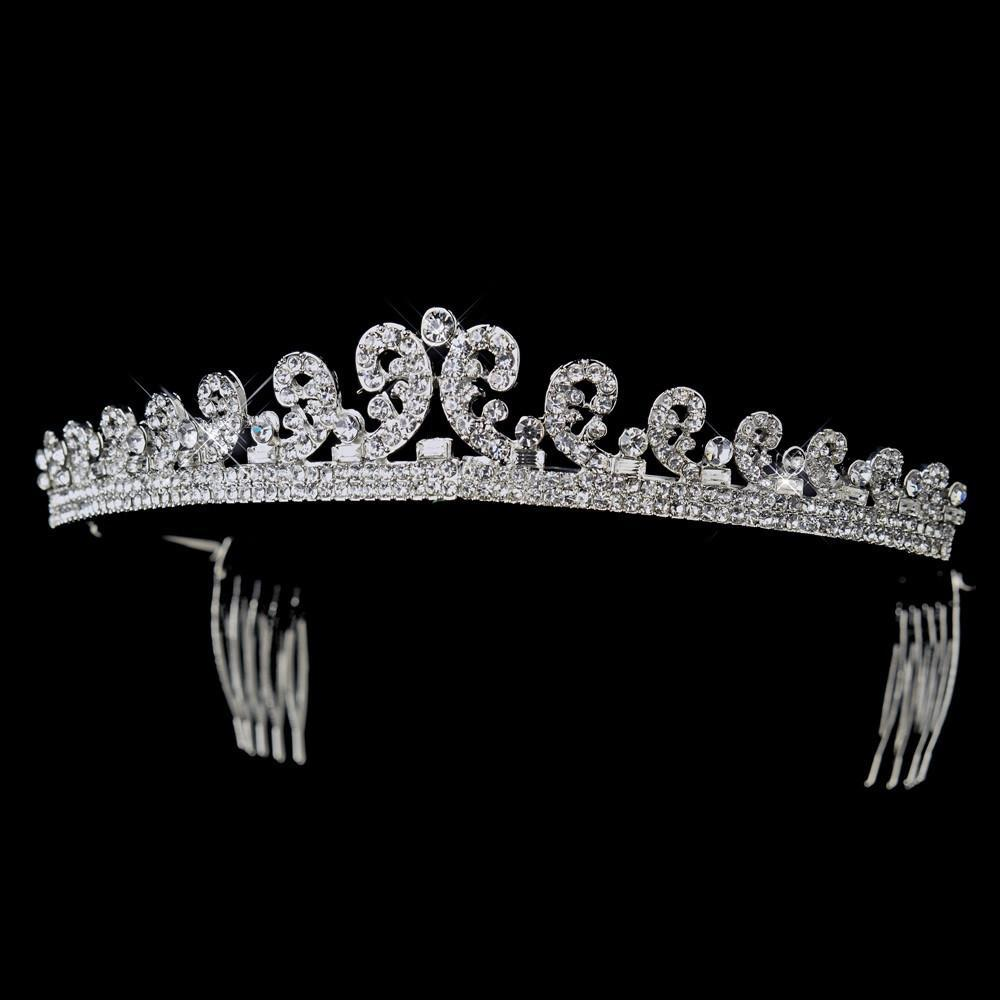 Silver Crystal Kate Middleton Inspired Bridal Tiara Comb - La Bella Bridal Accessories