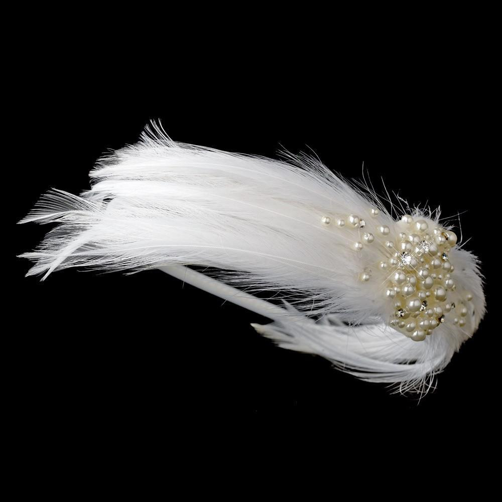 Feather & Pearl Bridal Headband HP 608 (White or Ivory) - La Bella Bridal Accessories