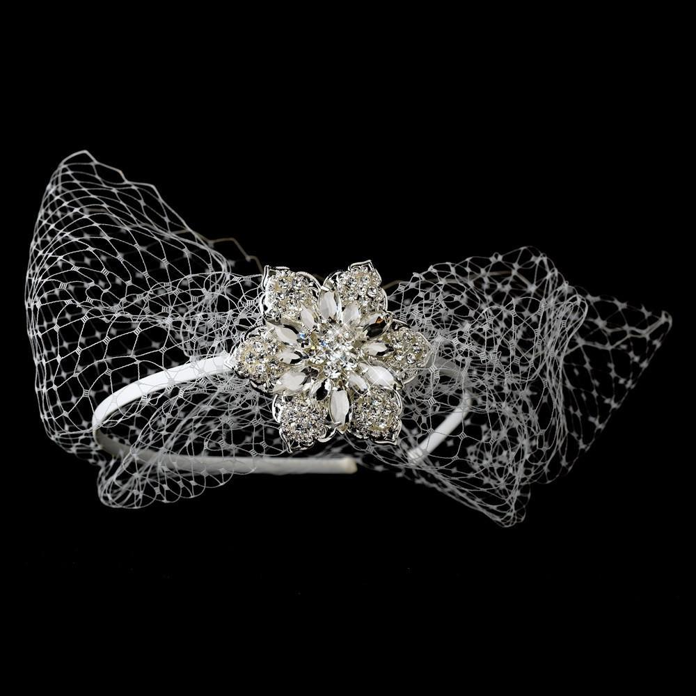 Beautiful Side Accented Bridal Headband with Bird Cage Veil - La Bella Bridal Accessories