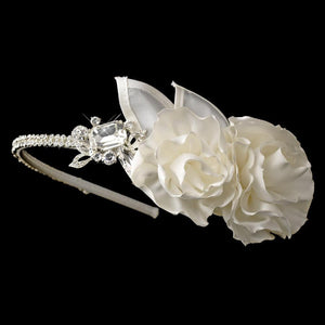 Crystal & Flower Accented Side Bridal Headband - La Bella Bridal Accessories