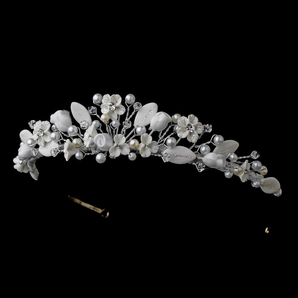 White Floral Crystal Bridal Tiara - La Bella Bridal Accessories