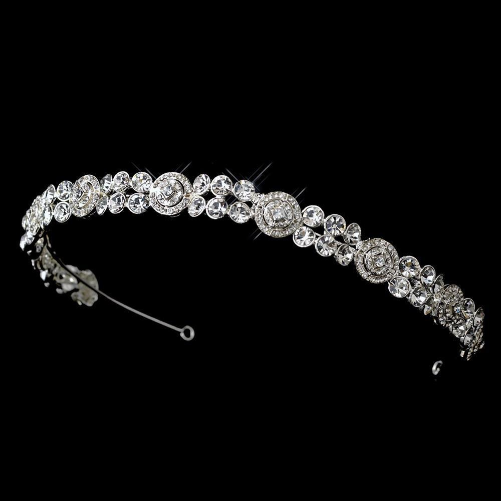 Channel Inspired Crystal Bridal Headband - La Bella Bridal Accessories