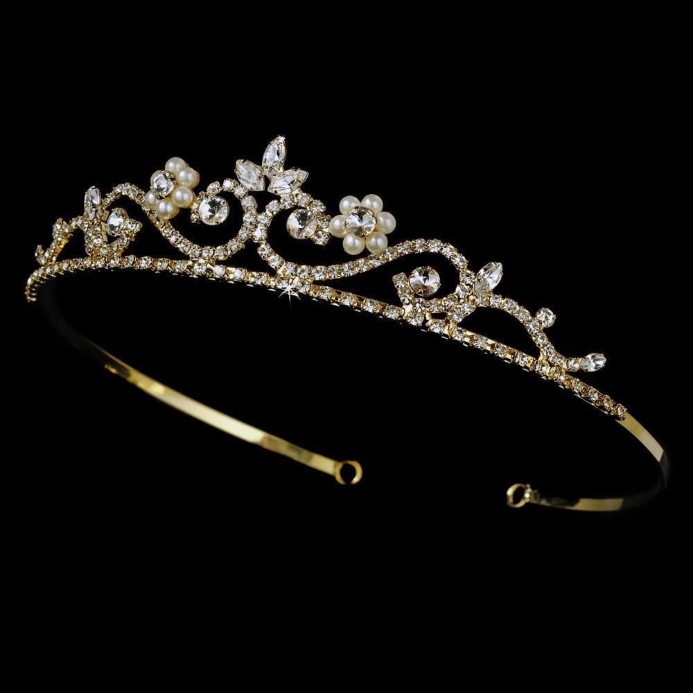 Crystal & Pearl Golden Bridal Tiara - La Bella Bridal Accessories