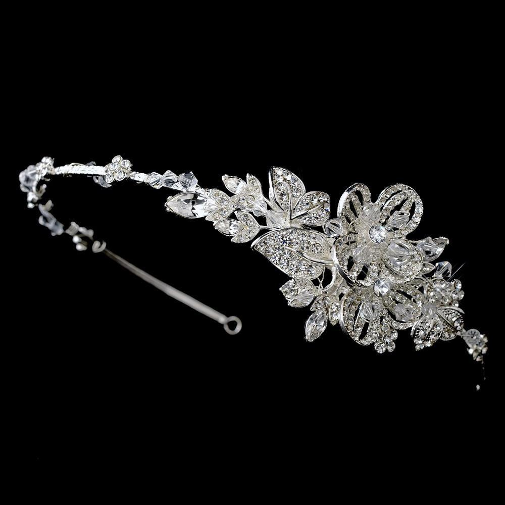 Beautiful Crystal Side Accented Bridal Headpiece - La Bella Bridal Accessories