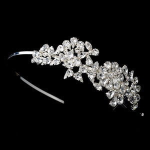 Crystal Floral Side Accented Bridal Headband - La Bella Bridal Accessories