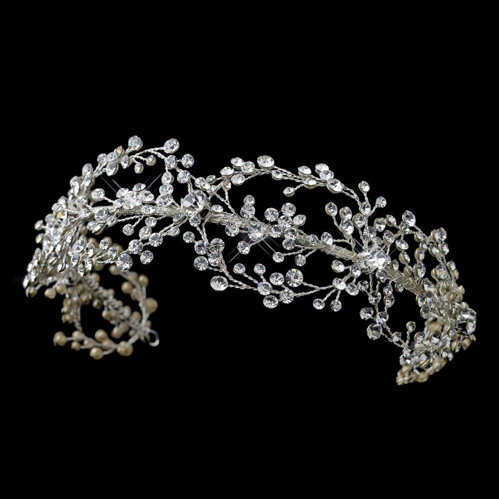 Rhodium Clear Crystal Handmade Wired Headband, Wedding Headpiece, Bridal headpieces