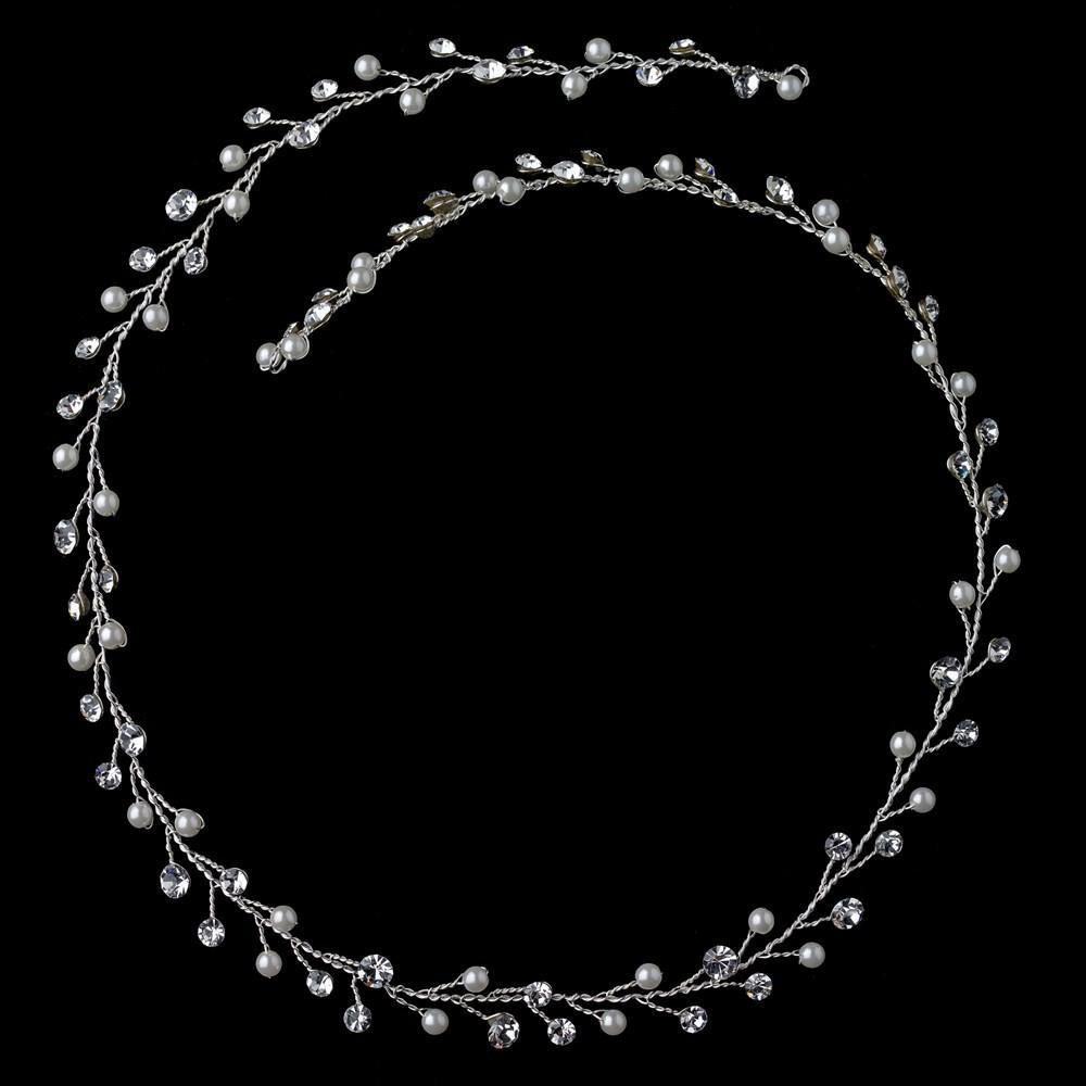 Silver Crystal & Pearl Vine Elastic Headband 6436 - La Bella Bridal Accessories