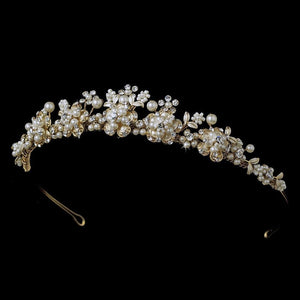 Elegant Pearl & Crystal Gold Bridal Tiara - La Bella Bridal Accessories