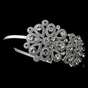 Vintage Floral Crystal Covered Headpiece with Side Accent in Silver - La Bella Bridal Accessories