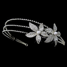 Antique Silver Plated Pearl & Crystal Starflower Side Accented Headband - La Bella Bridal Accessories