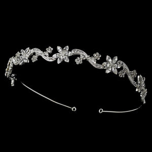 Floral Swirl Crystal Bridal Headband Headpiece - La Bella Bridal Accessories
