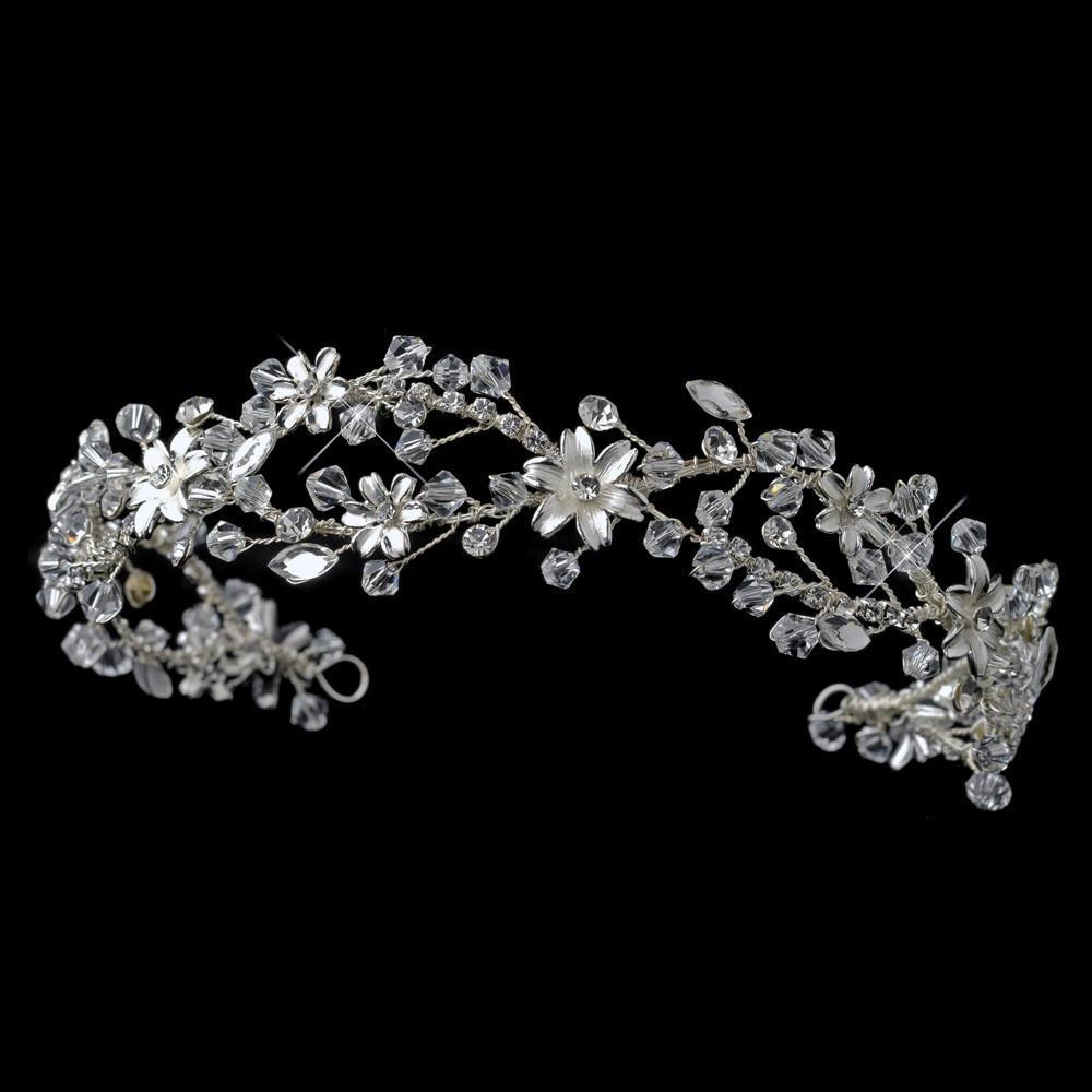 Swarovski Crystal Floral Wedding Headpiece - La Bella Bridal Accessories