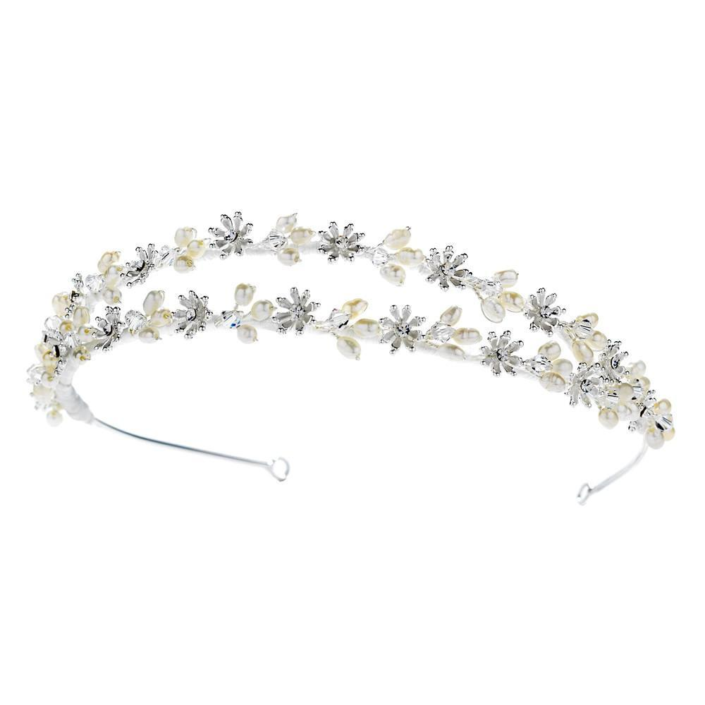 Elegant Fresh water Pearl & Crystal Wired Double Row Headband - La Bella Bridal Accessories