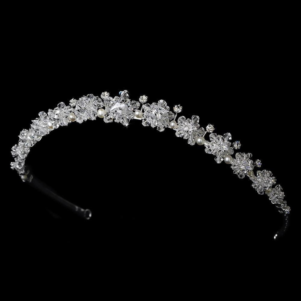 Floral Swarovski & Freshwater Pearl Headband in Silver - La Bella Bridal Accessories