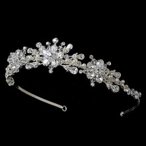 Crystal and Freshwater Pearl Wedding Tiara Headpiece - La Bella Bridal Accessories