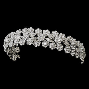 Antique Silver Floral Crystal Headband - La Bella Bridal Accessories