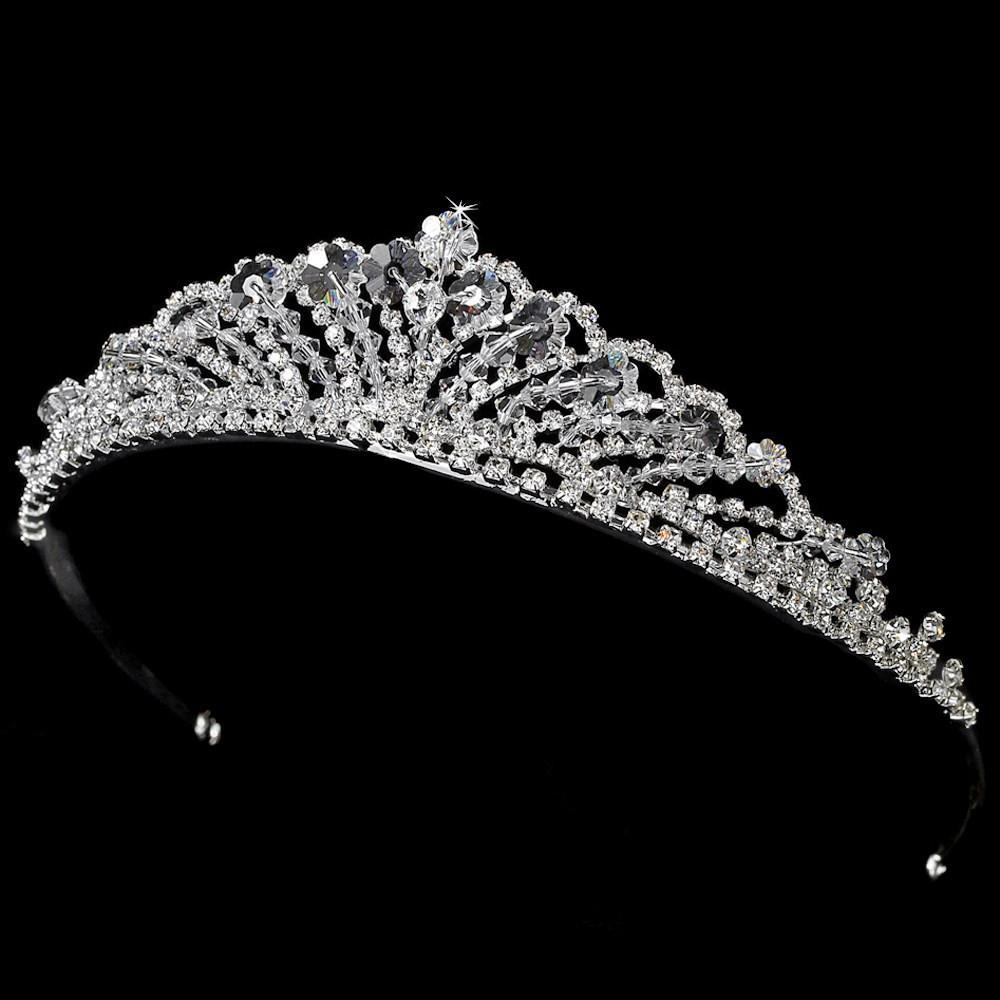 Swarovski Crystal & Bicone Crystal Tiara Crown - La Bella Bridal Accessories