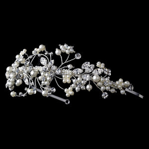 Ivory Pearl & Crystal Accented Side Bridal Tiara - La Bella Bridal Accessories