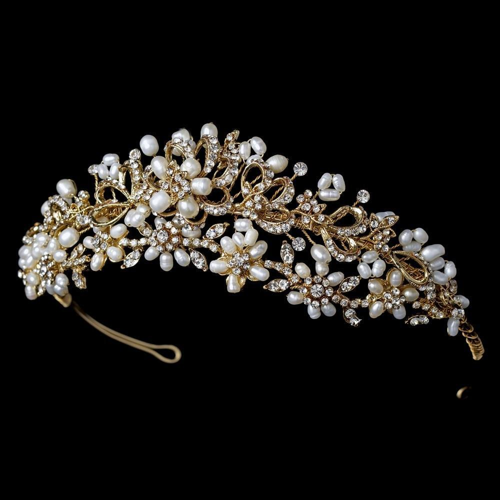 Gold Freshwater Pearl Bridal Headpiece - La Bella Bridal Accessories