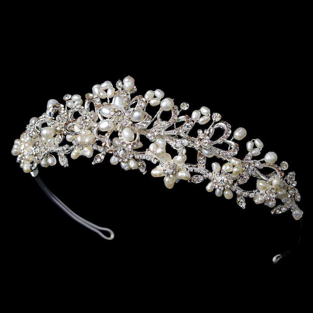 Floral Bridal Tiara - La Bella Bridal Accessories