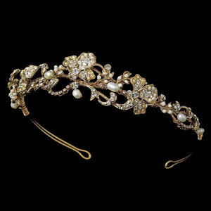 Artistic Pearl Wedding Bridal Headband - La Bella Bridal Accessories