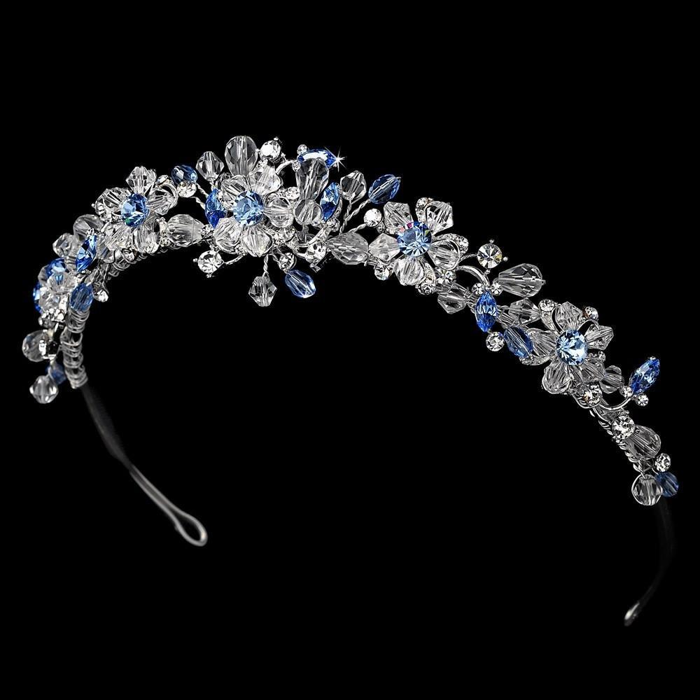 Silver Blue Swarovski Bridal Tiara, Wedding Headpiece, Bridal headpieces