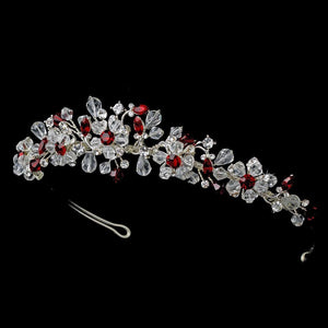 Silver Red Headband Headpiece 8003 - La Bella Bridal Accessories