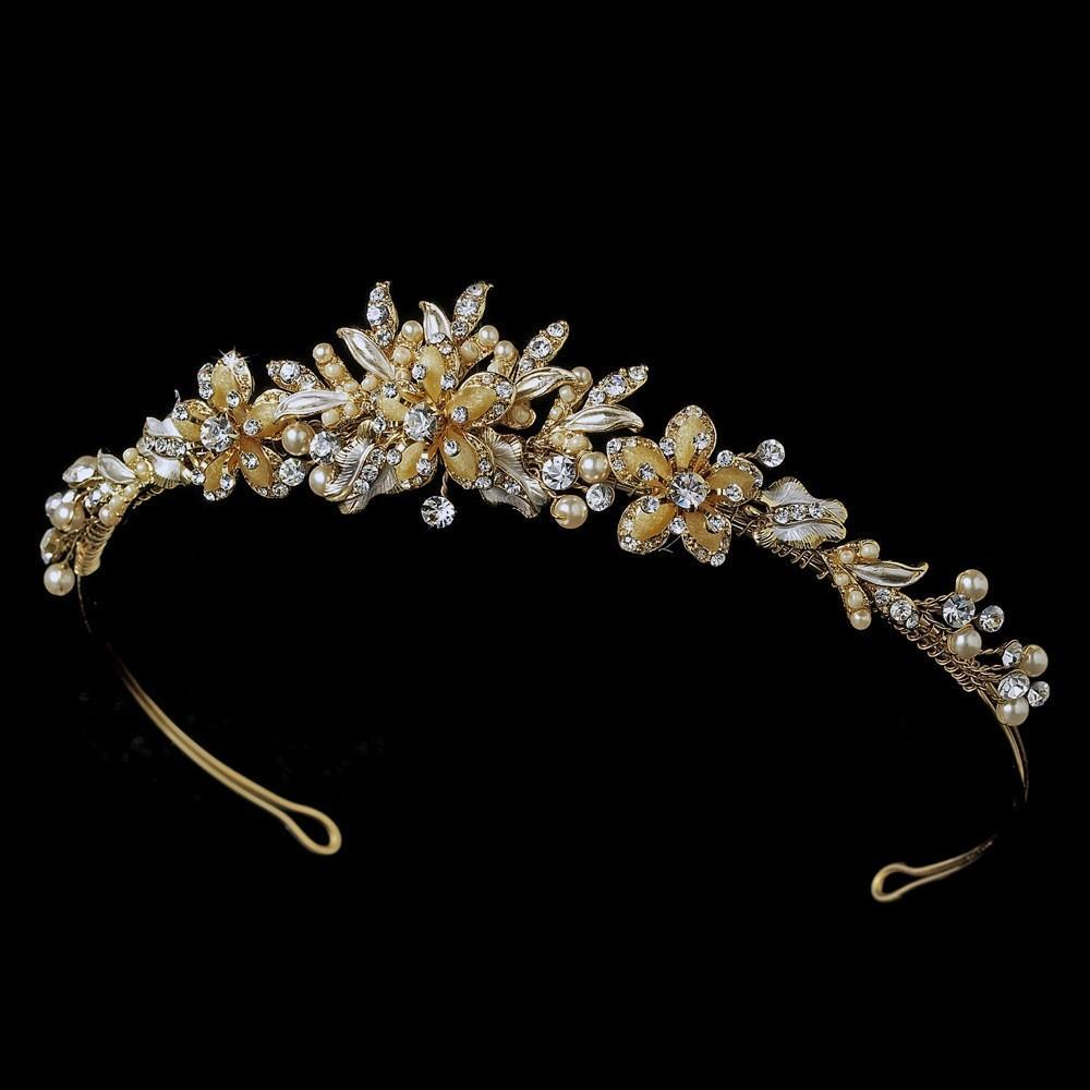Gold Plated Ivory Pearl & Crystal Wedding Tiara - La Bella Bridal Accessories